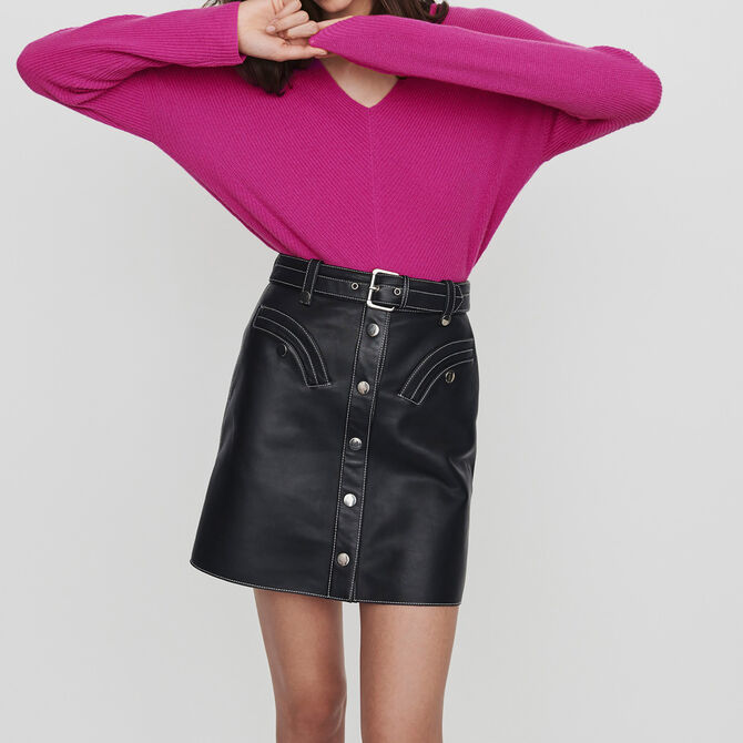 Leather belted A-line skirt - See all - MAJE
