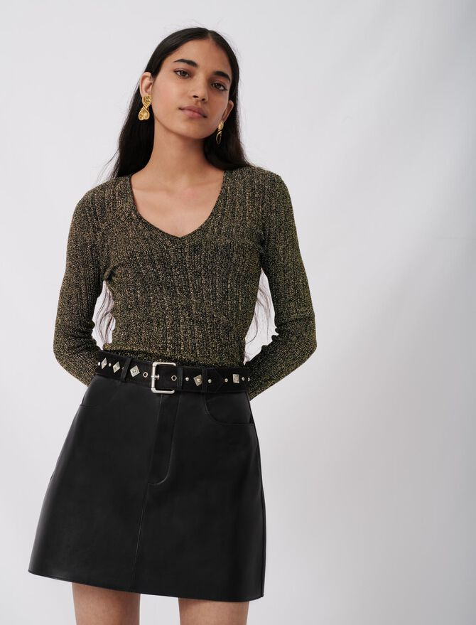 Leather skirt with fancy belt -  - MAJE
