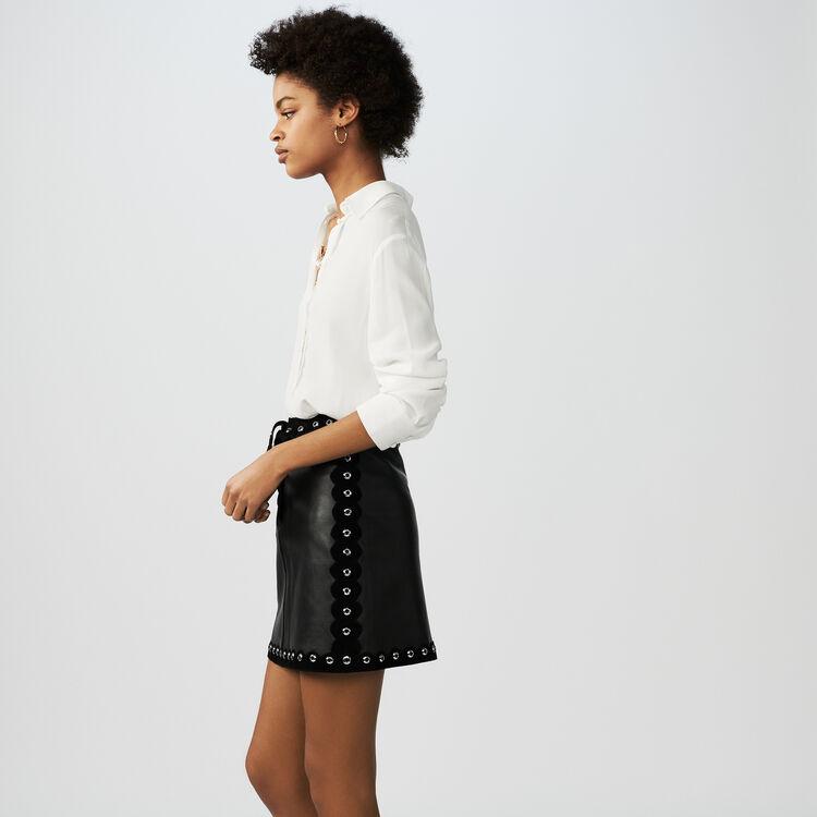 Jupe courte en cuir : Jupes & Shorts couleur Black