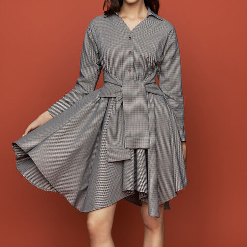 Shirt dress in houndstooth print : Dresses color CARREAUX