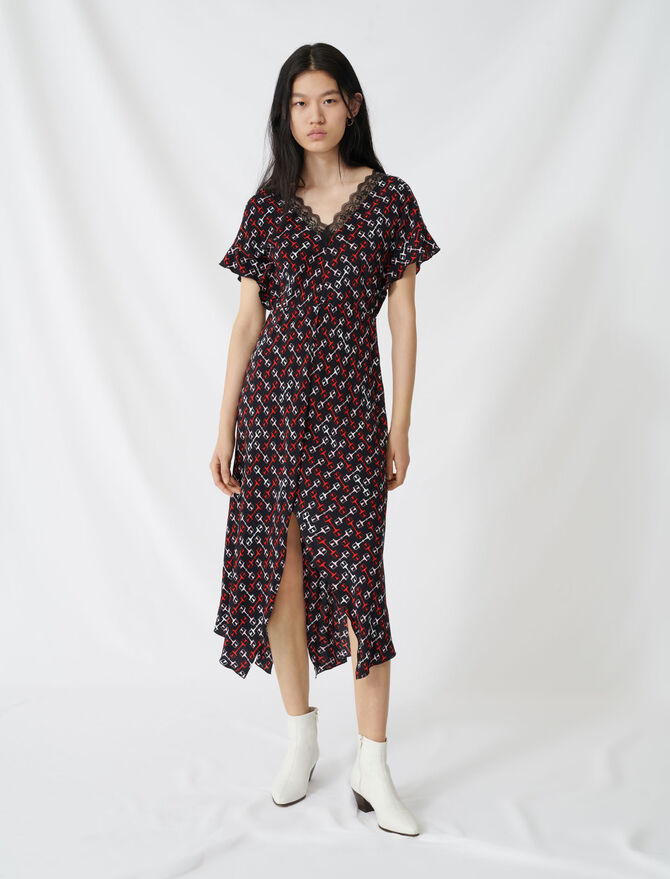 Robe longue en crêpe à imprimé foulard - Robes - MAJE