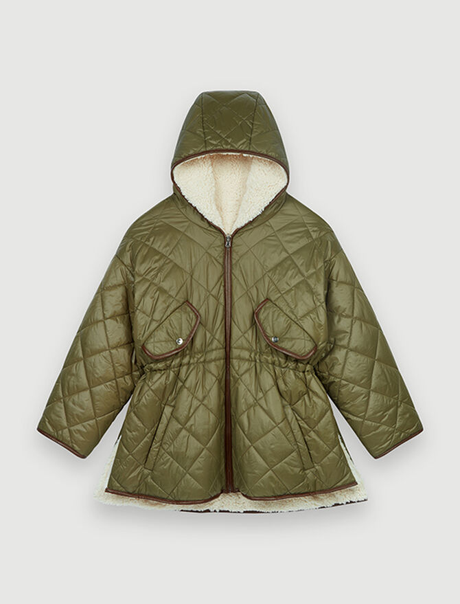 Down jacket with hood and fur-effect -  - MAJE