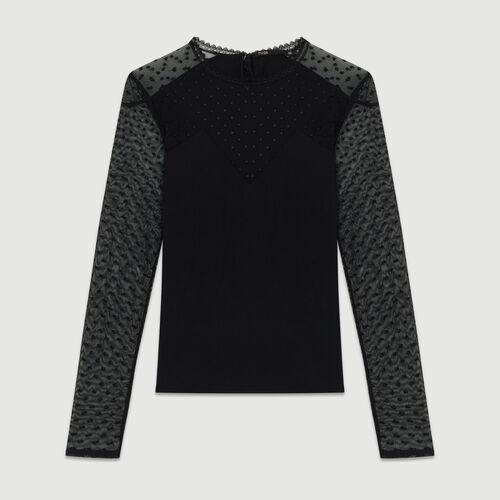 Tee-shirt en coton et plumetis : T-Shirts couleur BLACK