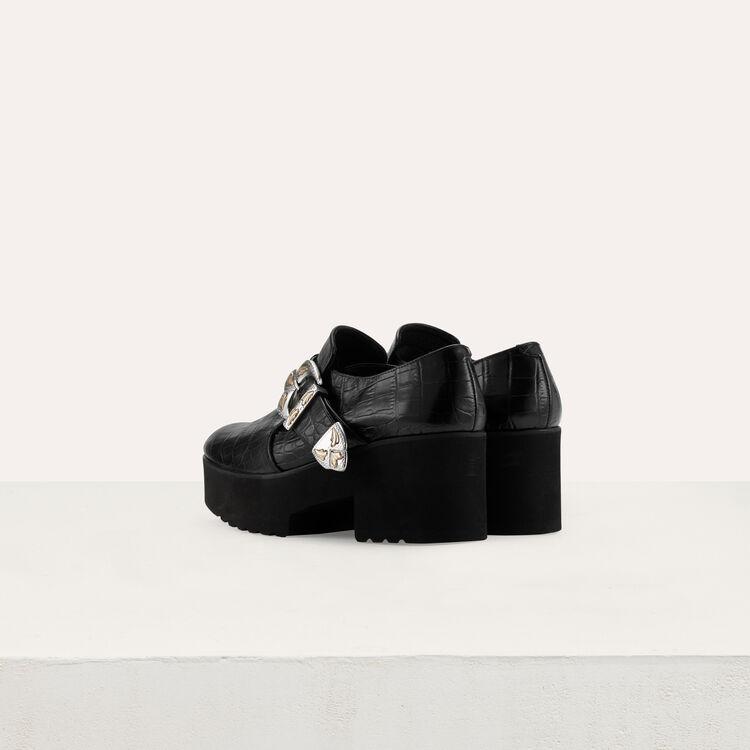 Derbys plateforme en cuir : Nouvelle Collection couleur Black