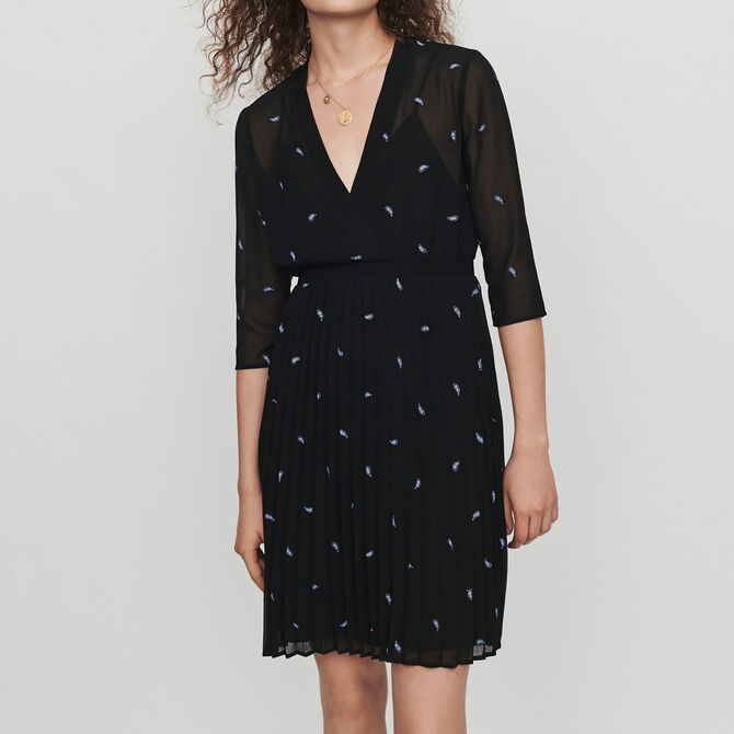 Pleated dress with embroidered cashmere - See all - MAJE