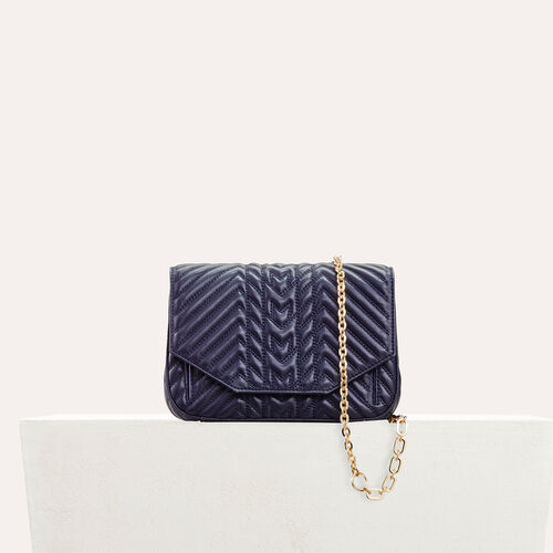 Quilted leather evening bag : Bags color Navy