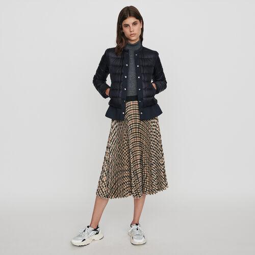 Light puffer coat wih Neoprene trim : Coats & Jackets color Night