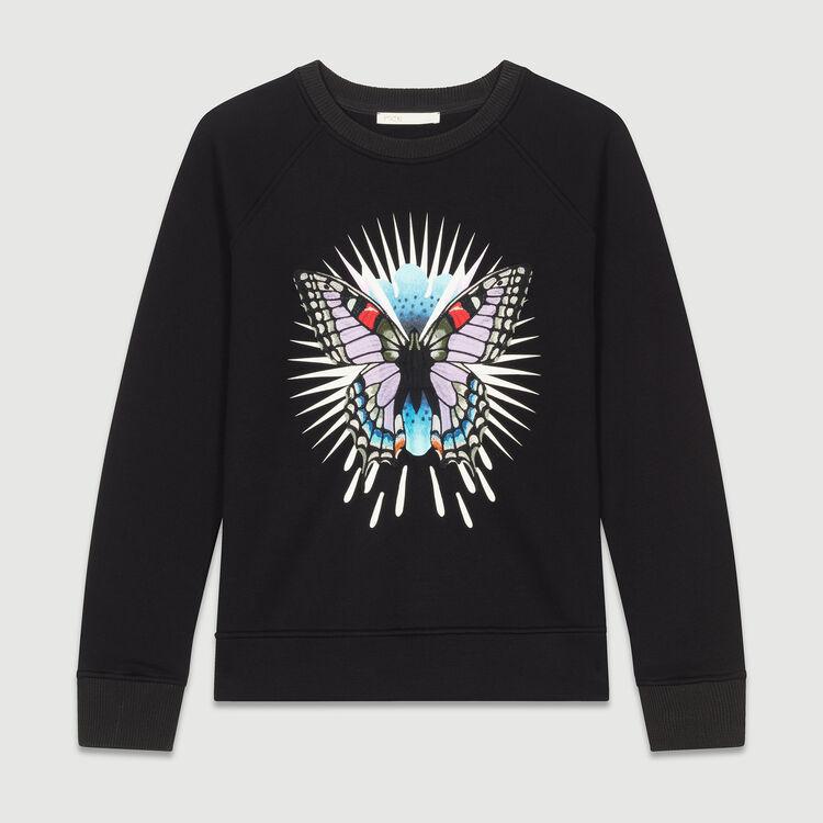 Sweat-shirt avec papillon brodé : T-Shirts couleur Black