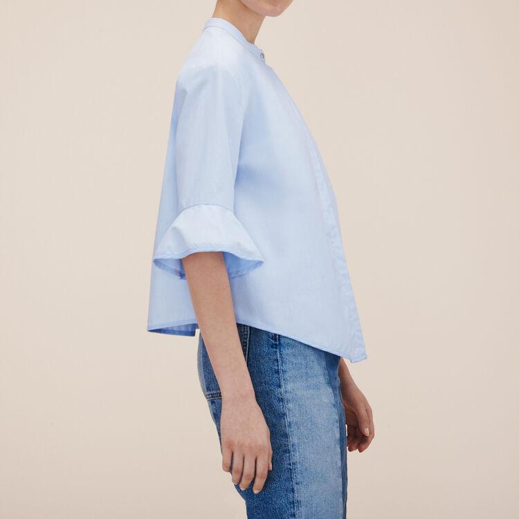 Chemise rayée en popeline : -30% couleur Bleu Ciel