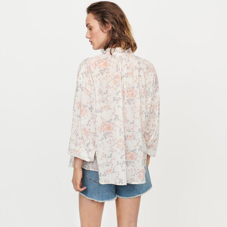 Chemise à fleurs en voile de coton : Tops & Chemises couleur Rose