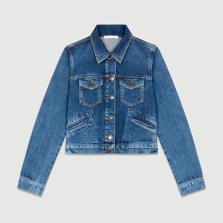Veste courte en jean : Vestes couleur Bleu