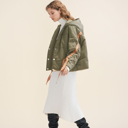 Cropped hooded down jacket : LAST CHANCE color Khaki