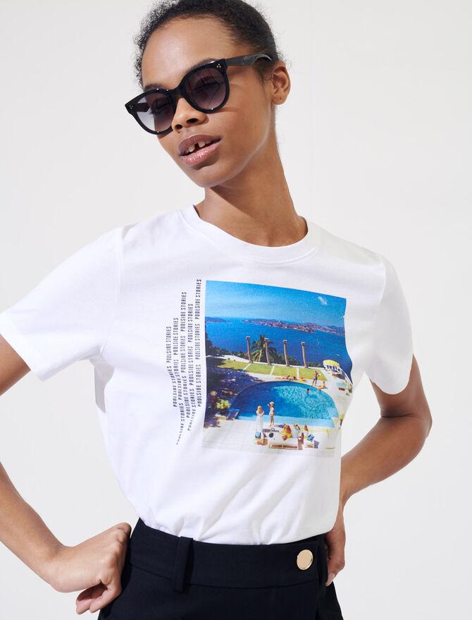 T-shirt blanc sérigraphié - T-Shirts - MAJE