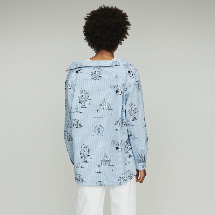 Chemise rayée à imprimé Paris : Tops couleur Bleu