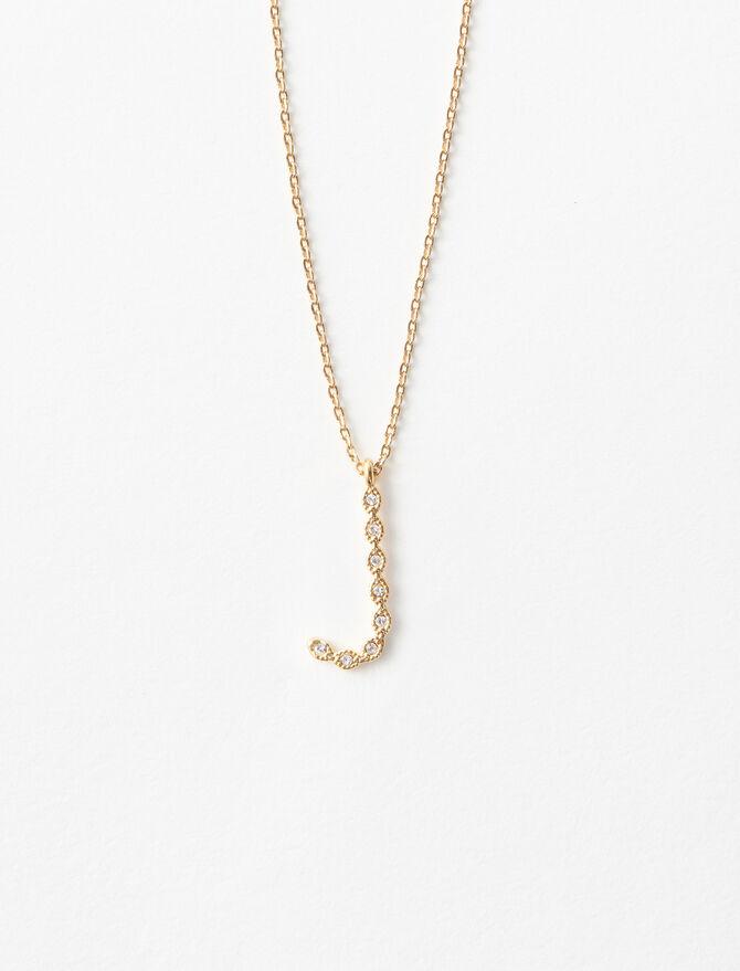 Rhinestone J necklace -  - MAJE