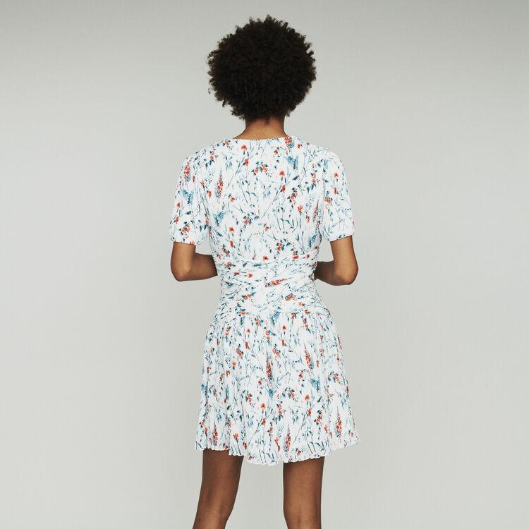 Robe courte imprimée à plissé bijou : Robes couleur IMPRIME