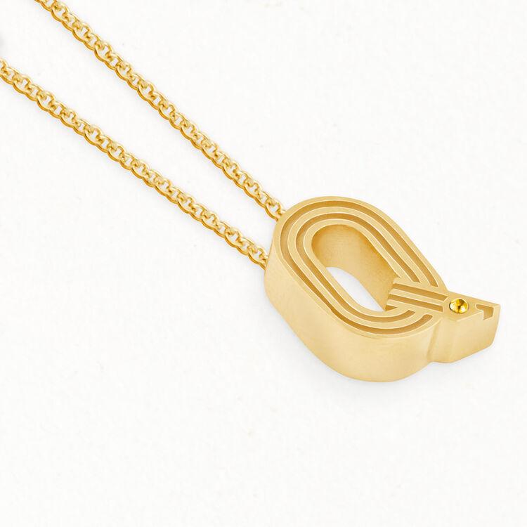 Collier avec pendentif initial : Médailles couleur OR