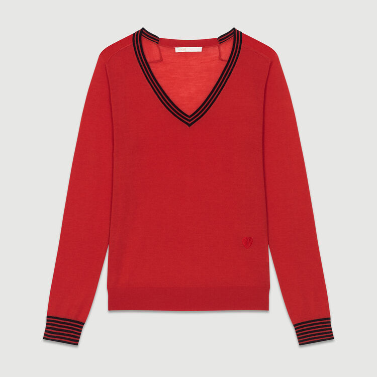 Pull fin en laine mérinos : Nouvelle Collection couleur Rouge