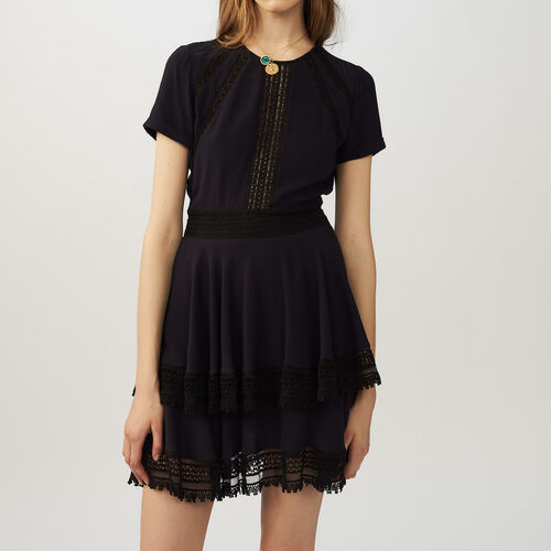 Flounced lace dress : Dresses color Navy