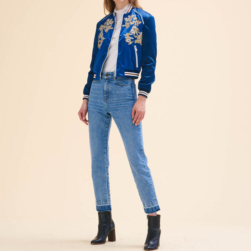 Embroidered bomber jacket : Coats & Jackets color Blue