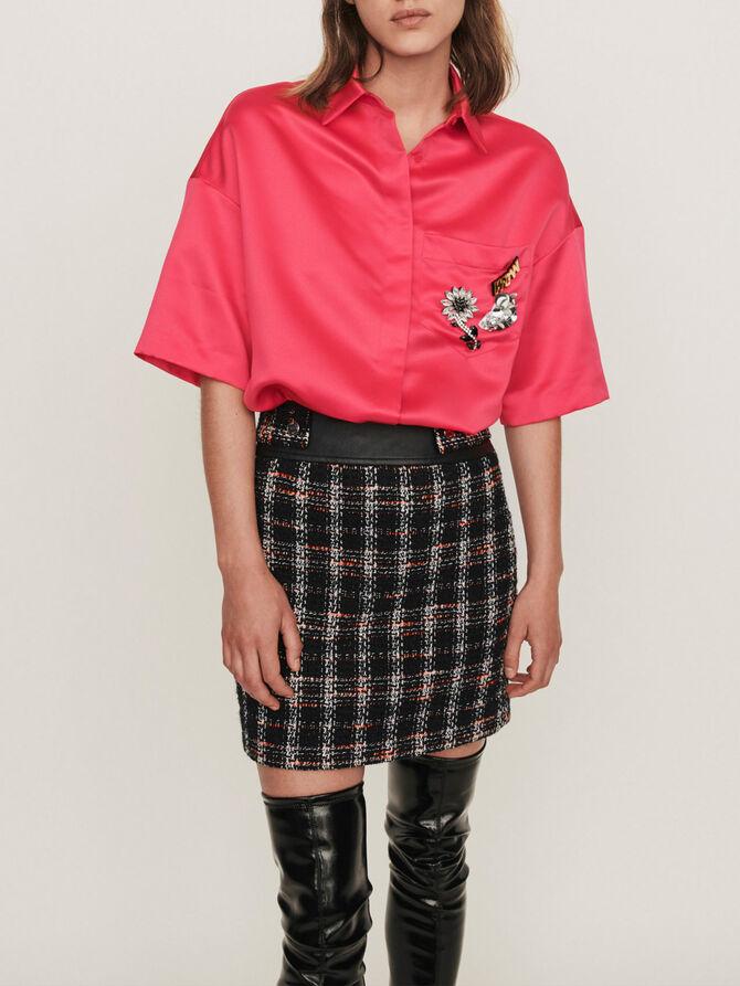Chemise en satin à bijoux sur la poche - Tops & Chemises - MAJE