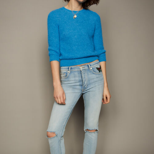 Mohair short jumper : Knitwear color Blue