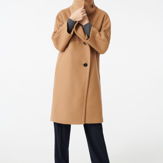 Long coat with wide woolen collar -  - MAJE