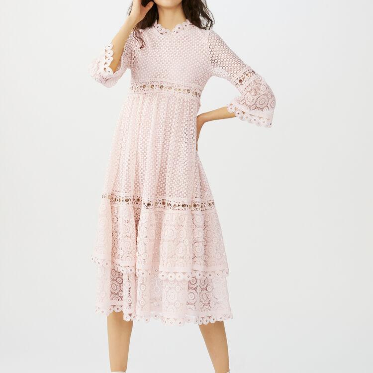 Robe longue en guipure : Robes couleur Rose