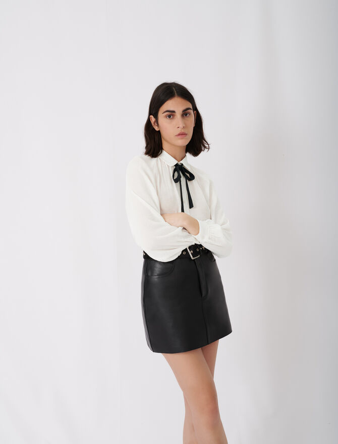 Flowing shirt with pussy-bow collar -  - MAJE