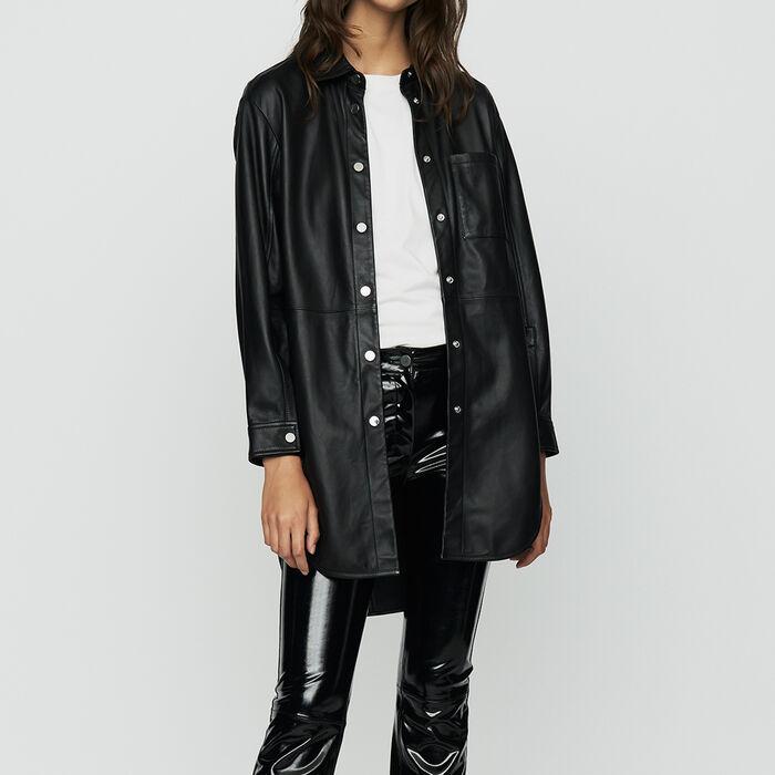 Chemise longue en cuir : Chemises couleur BLACK