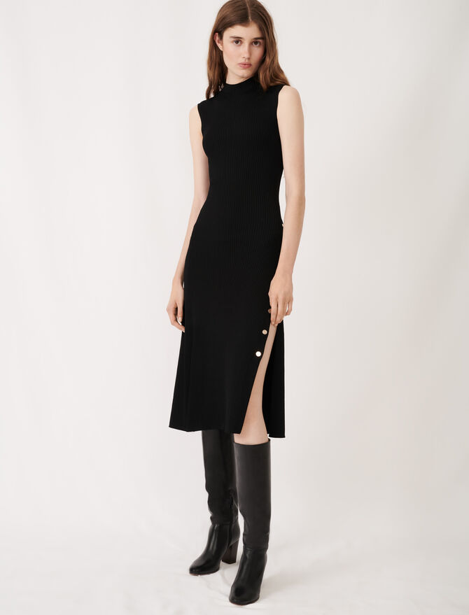Stretch knit slit dress - Dresses - MAJE