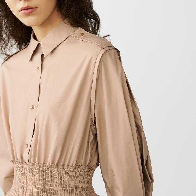 Robe-chemise avec smocks : Robes couleur Beige