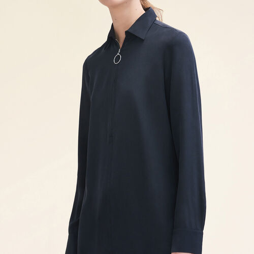 Silk shirt with zip - Shirts - MAJE