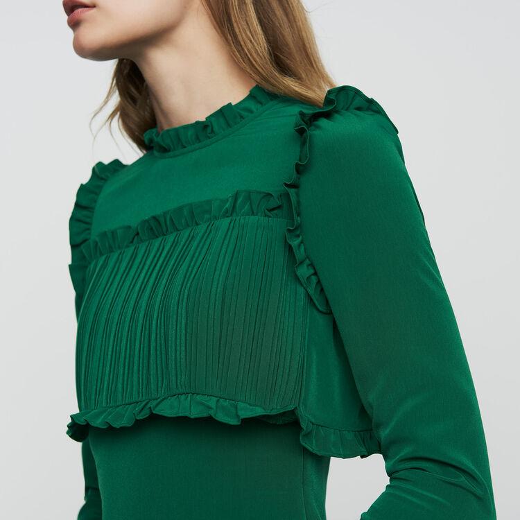 Robe droite avec plastron plissé : Robes couleur Vert