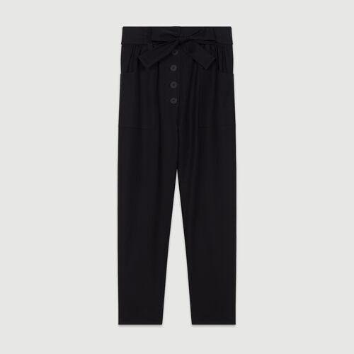 Pantalon large taille haute : Pantalons couleur BLACK