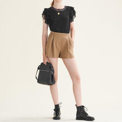 Flounced lace top : Tops color Black 210
