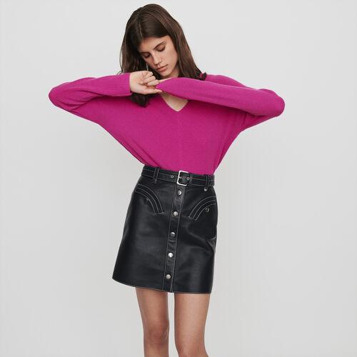 Jupe trapèze ceinturée en cuir : Jupes & Shorts couleur Noir
