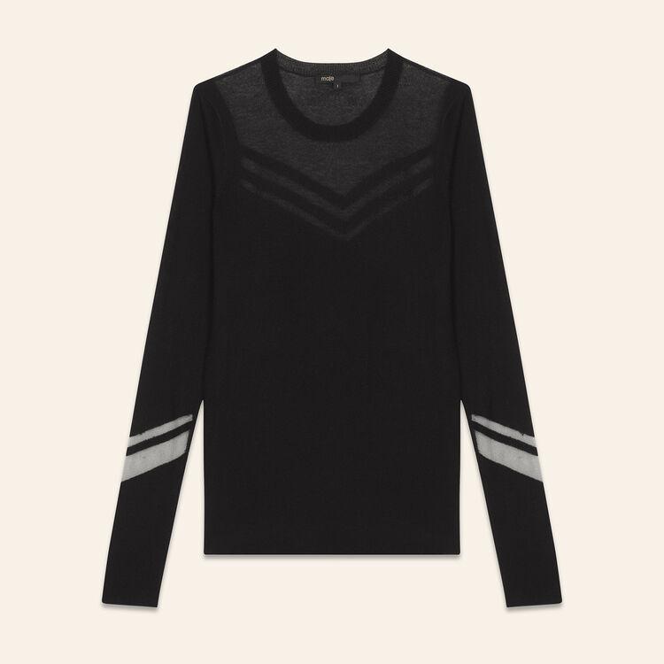 Pull fin mix de matières : T-shirts couleur Black