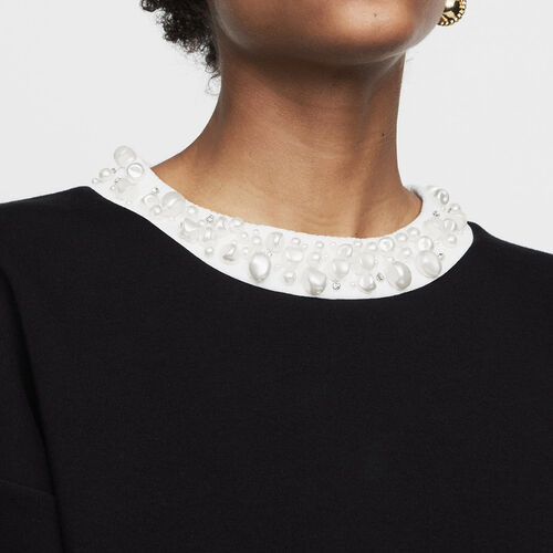 Sweat-shirt molletonné avec perles : Maille couleur Black