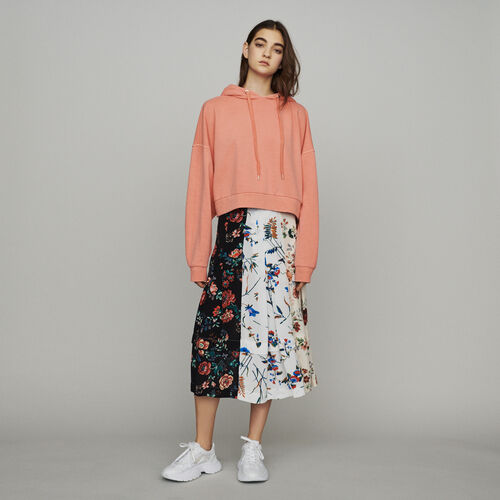 Cropped hooded sweatshirt : New in : Summer Collection color Coral