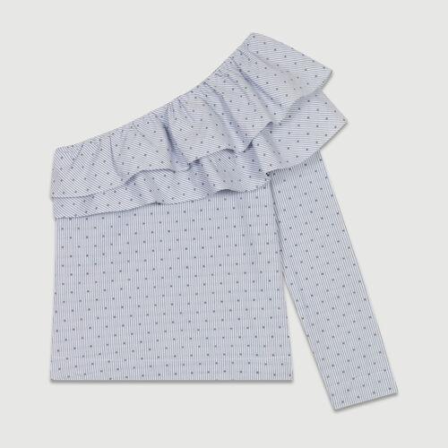 Top à rayures avec épaules asymétriques : Tops couleur BLEU