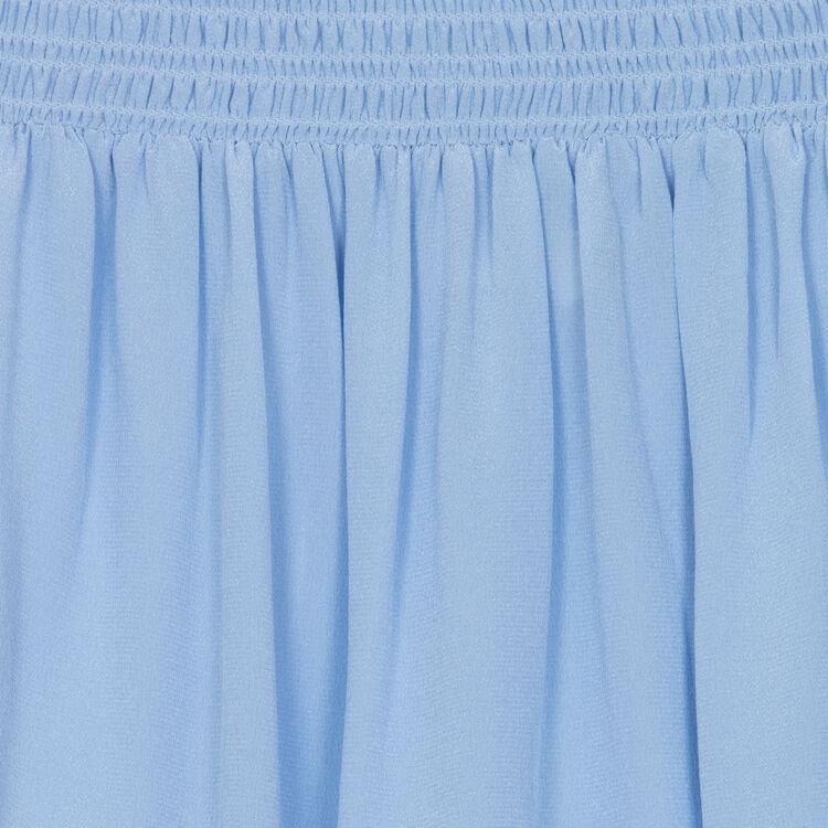 Top en soie à épaules dénudées : Majexclusive couleur Bleu Jeans