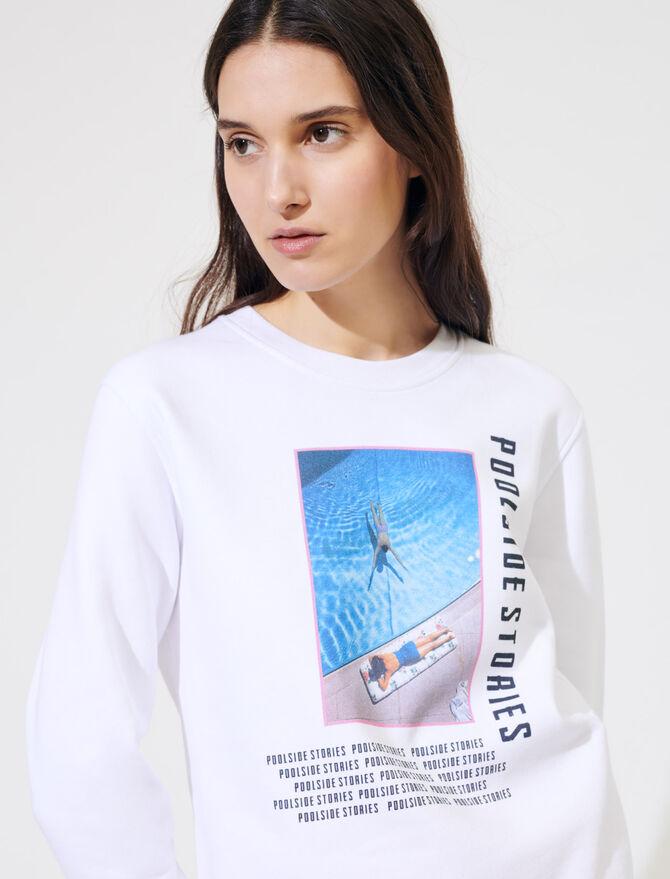 Sweat-shirt blanc sérigraphié - Pulls & Cardigans - MAJE