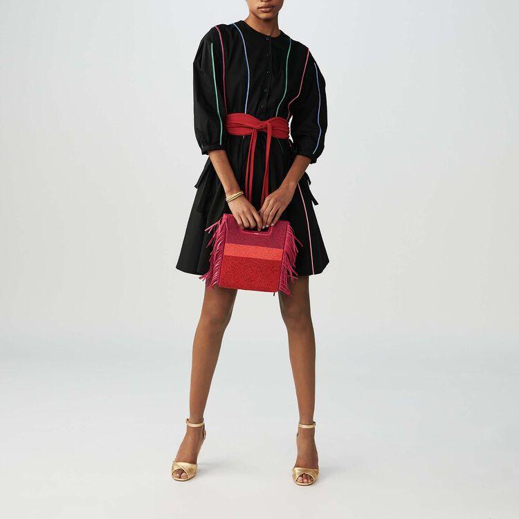Robe en toile de coton avec piping : Robes couleur Black
