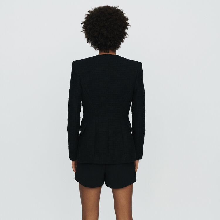Veste sans col façon tweed : Vestes couleur Black