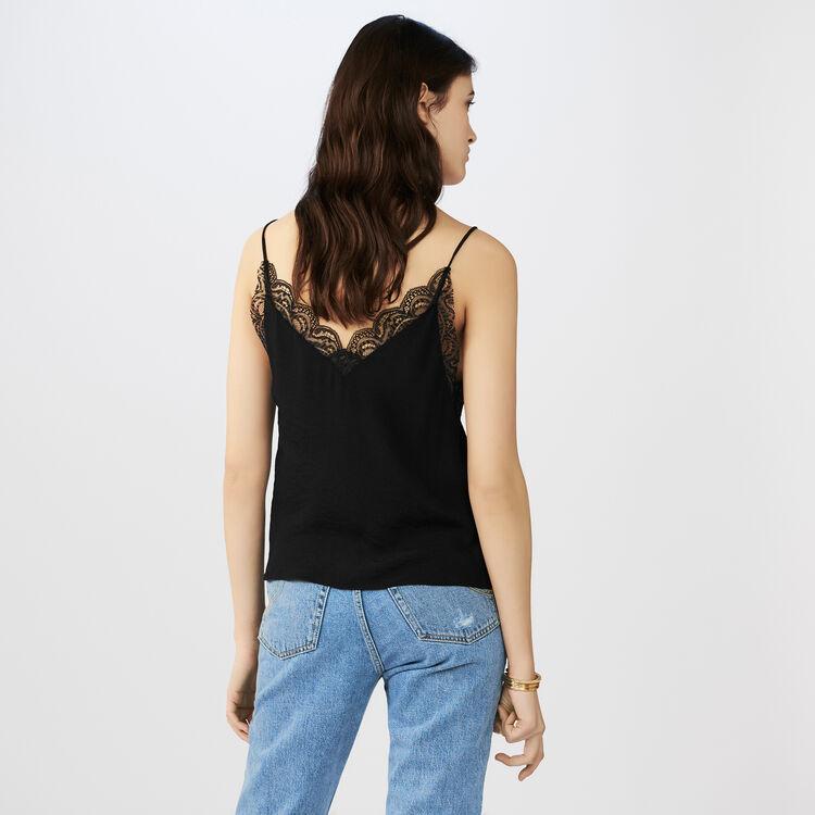 Caraco en crêpe avec dentelle : Tops & Chemises couleur Black
