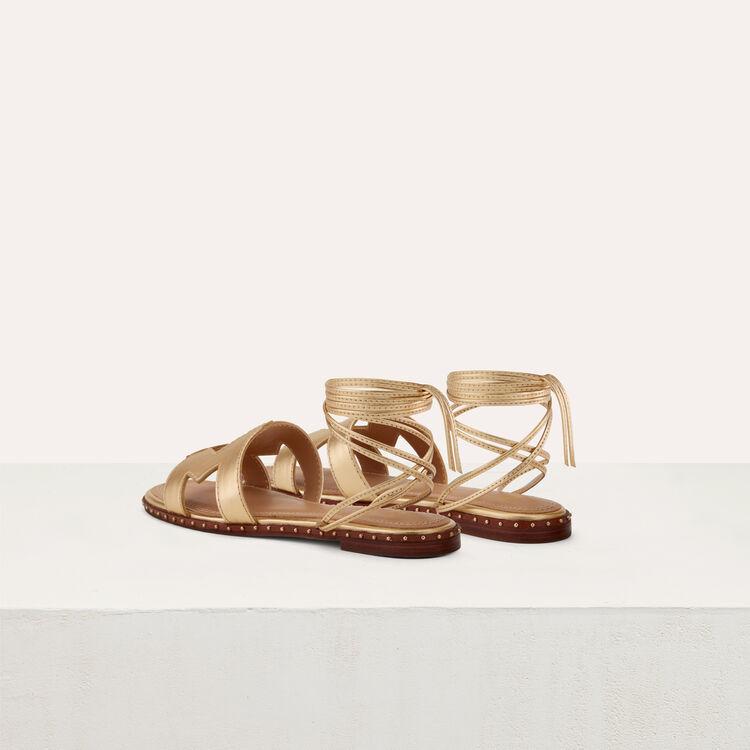Sandales plates en cuir métallisé : Chaussures plates couleur Gold