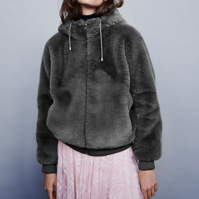 Hooded faux fur jacket - See all - MAJE