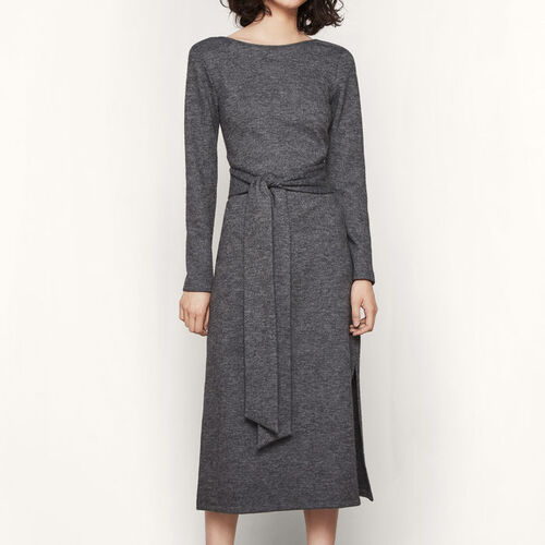 Knitted woollen dress with belt : Dresses color Grey