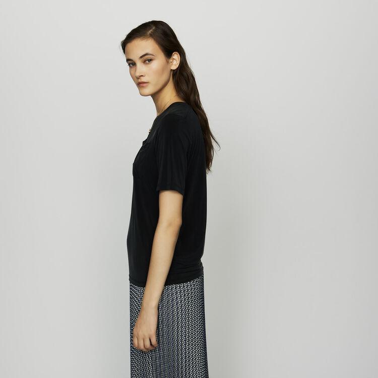 Tee-shirt en cupro : Prêt-à-porter couleur Black
